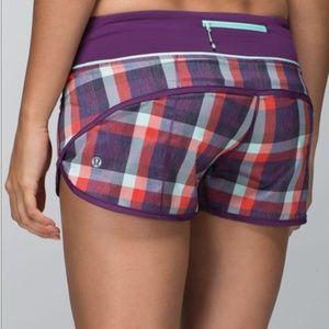 Lululemon Run Times plaid shorts RARE COLOR sz 4